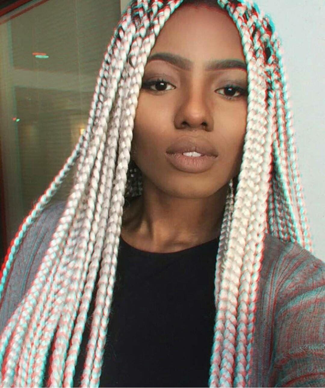 Image Result For Dark Skin Platinum Blonde Box Braids Hairstyles
