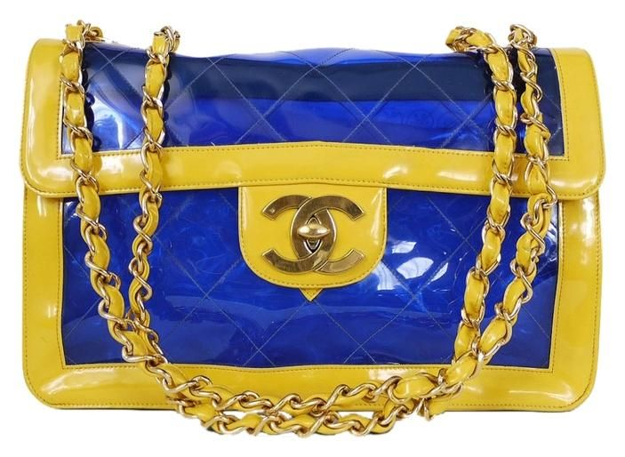 129087245544 Chanel 2 Tone Naked Jumbo Classic Flap Very Rare Vintage Blue, Yellow Cross  Body Bag. Get the trendiest Cross Body Bag of the season!