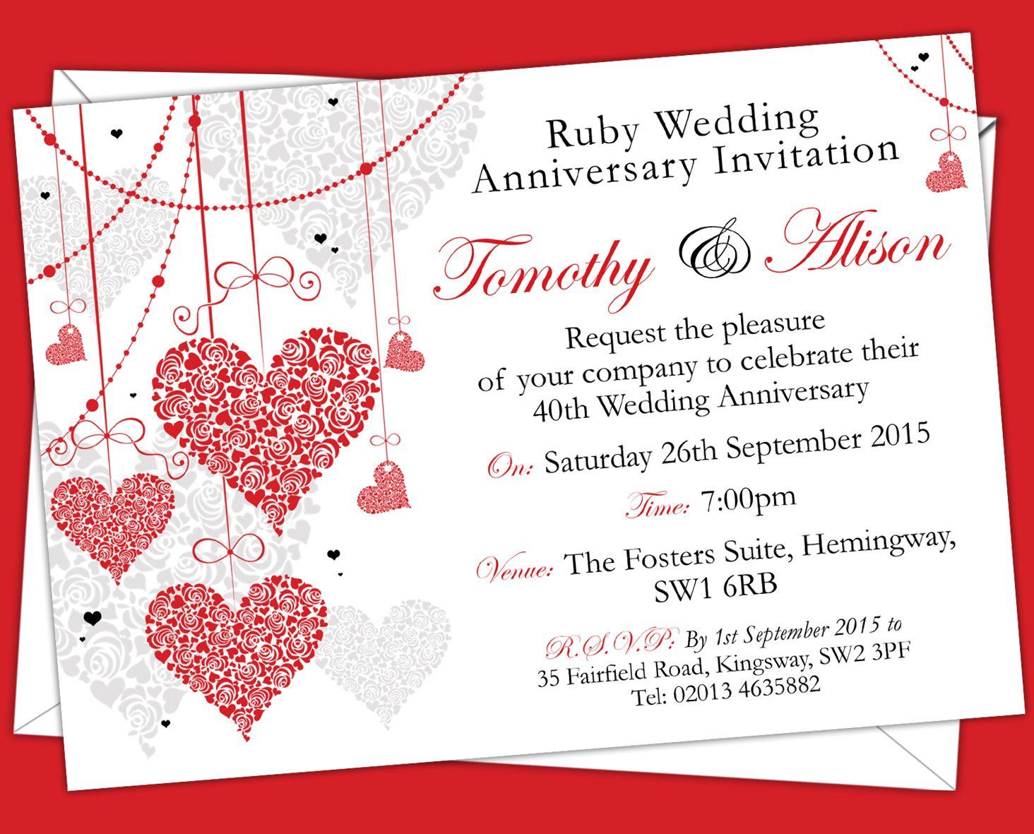 Personalised Ruby Wedding Anniversary Invitations Prices Start
