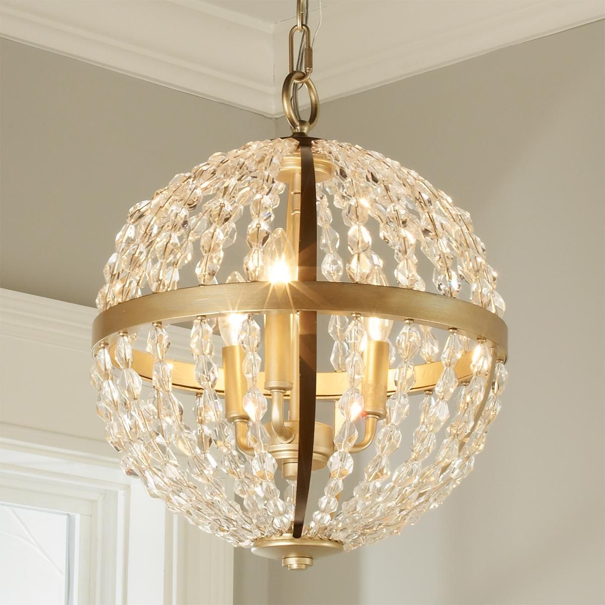 Crystal And Gold Globe Chandelier Small This Stunningly Glamorous Chandelier Features A Globe Of Soft Gold Metal Globe Chandelier Small Chandelier Gold Globe
