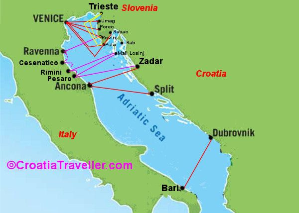A Map Showing All International Ferry Connections Croatia Map Croatia Map