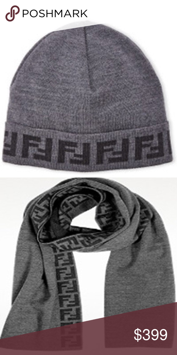 ef58012c060 New Fendi hat and scarf set - gray New Fendi hat and scarf set - gray -  100% Lana wool - scarf is 64x12 - unisex FENDI Accessories Hats