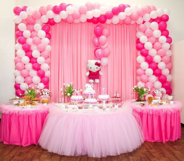 Hello kitty birthday background decors stage decorations for Table exterieur hello kitty