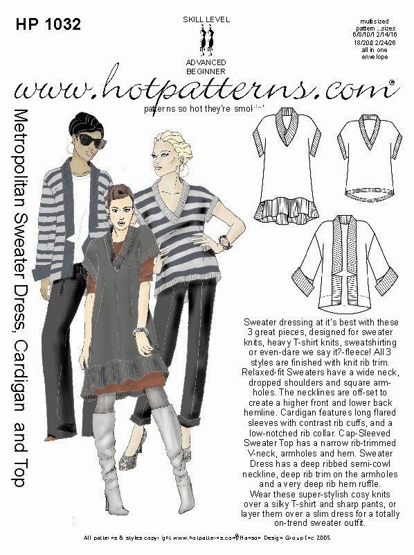 HotPatterns.com - HP 1032 Metropolitan Sweater Dress, Cardigan. Love ...