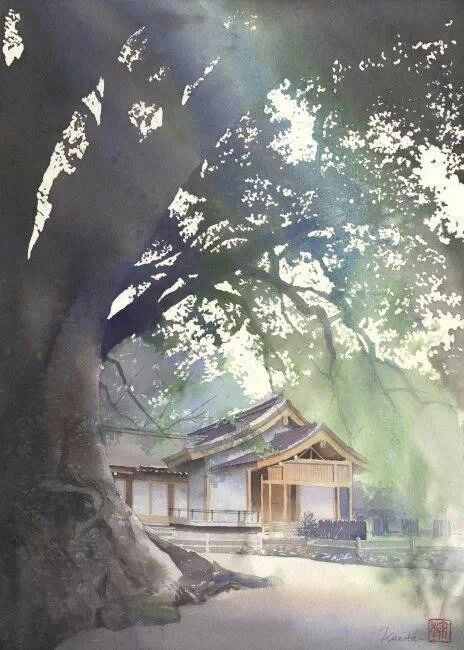 Watercolor By Kanta Harusaki Japan Watercolor Landscape