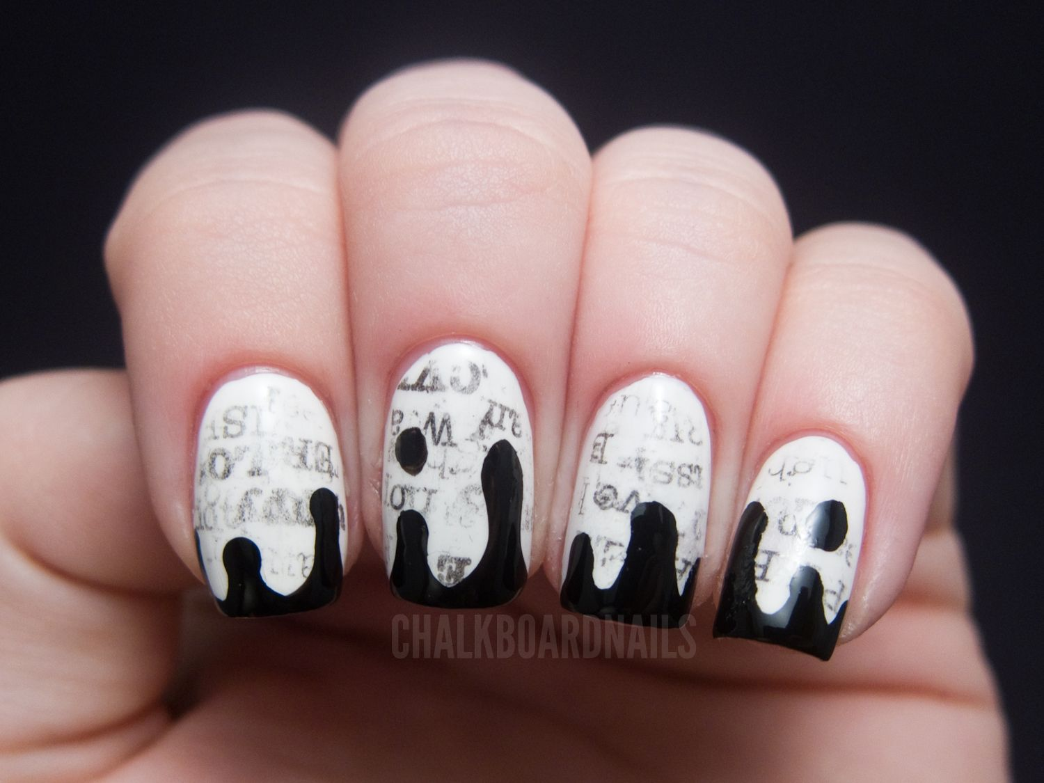 The New Black Typography Set - Daily News | Chalkboard nails ...