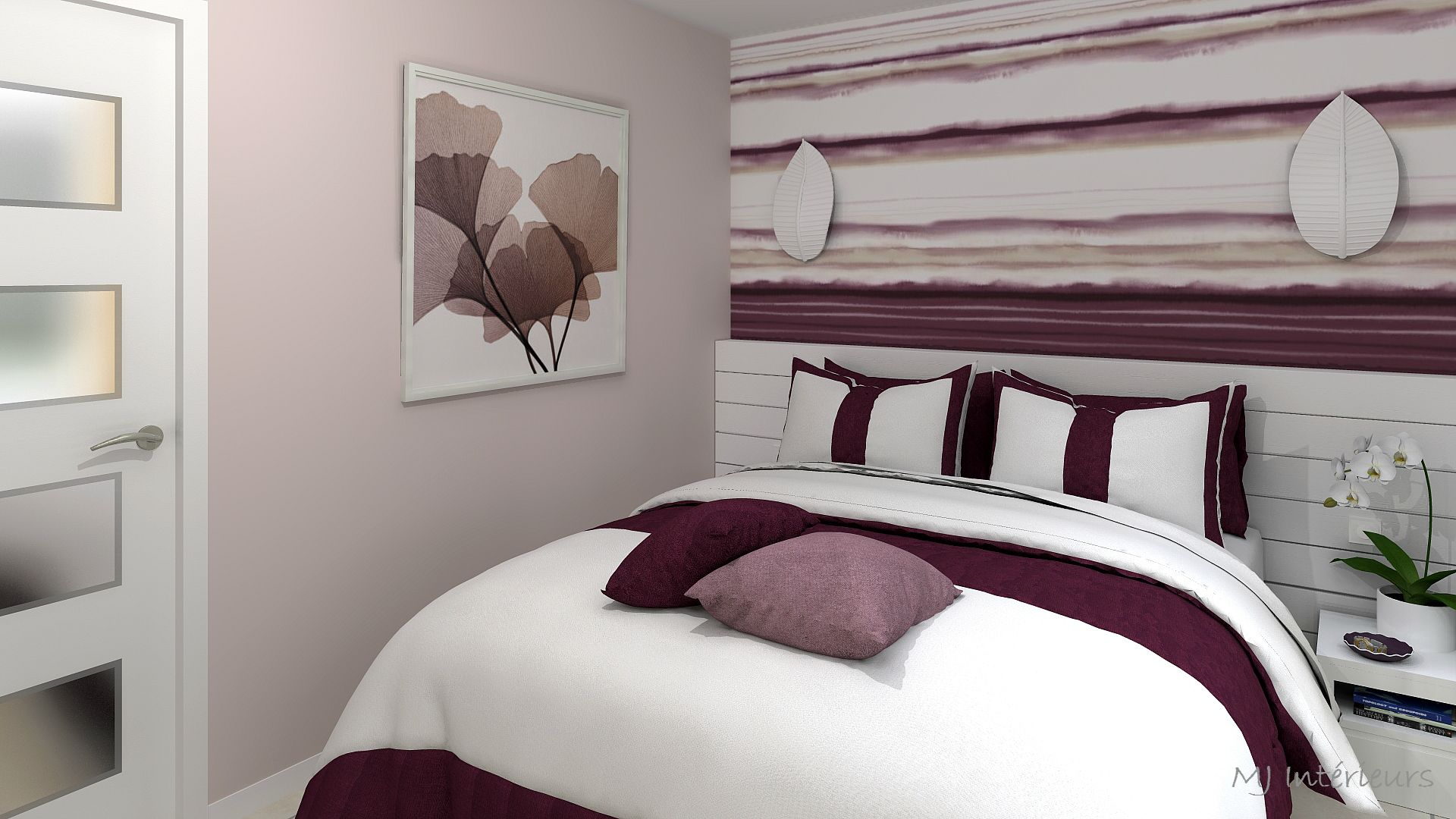 Chambre contemporaine aubergine, rose et blanc par MJ Intérieurs ...