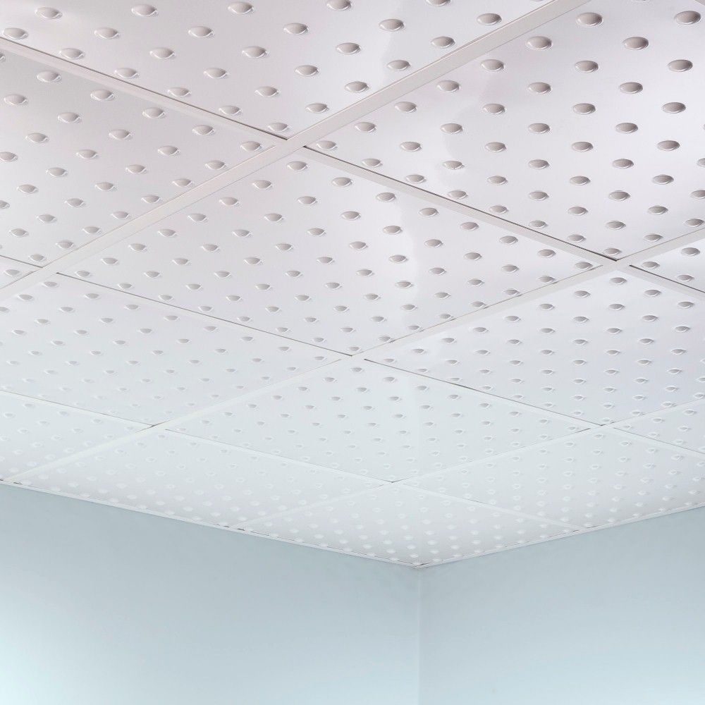 Fasade Dome Matte White foot Square Layin Ceiling Tile Assembly