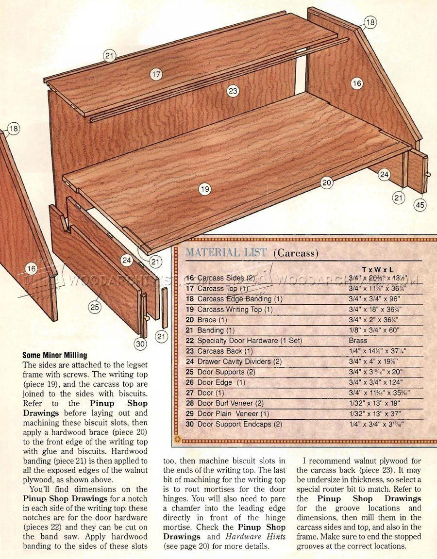Federal Secretary Desk Plans Furniture Plans Desk Plans Secretary Desks How To Plan