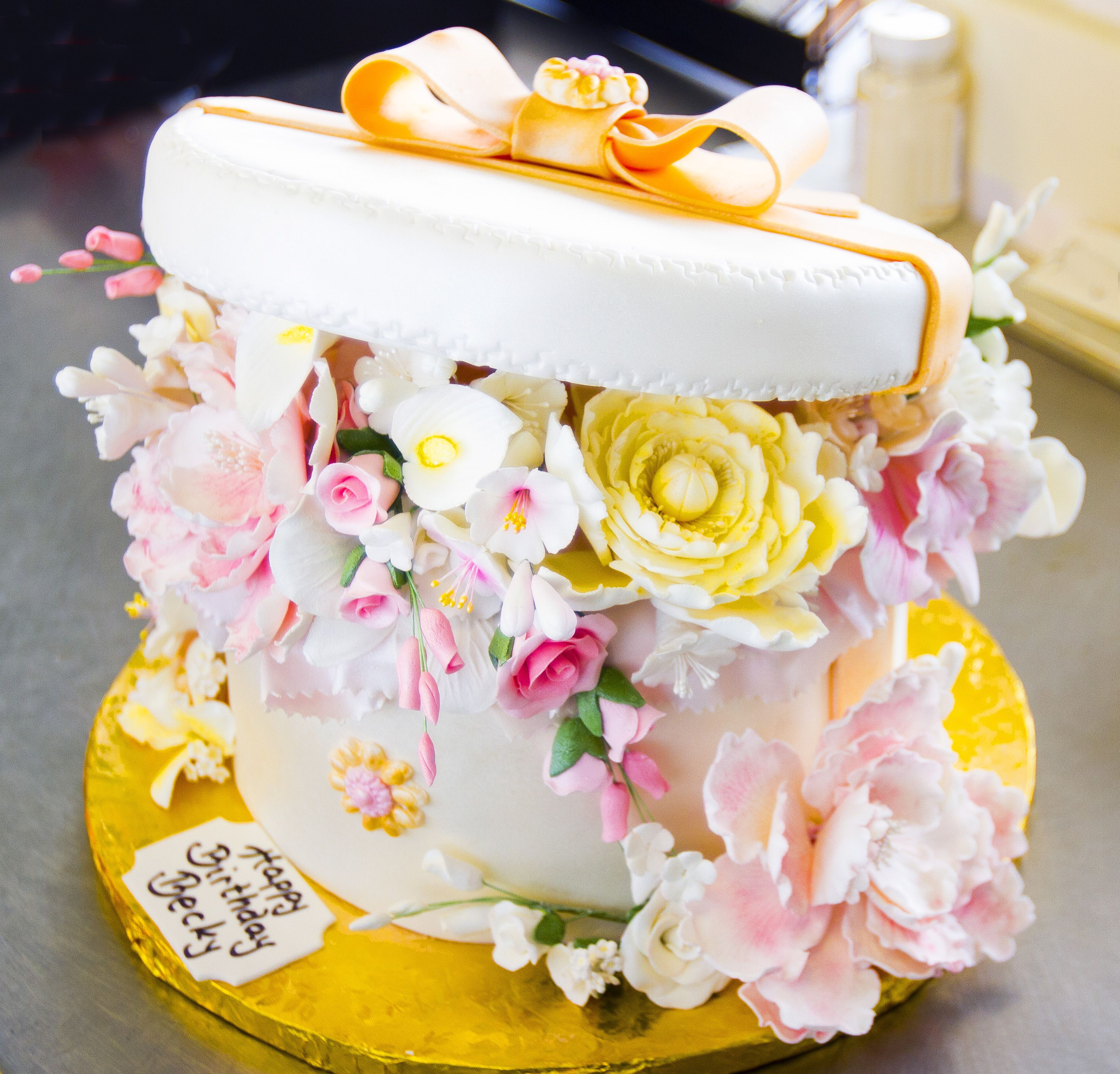 A floral hat box birthday cake! Cake # 075. | Birthday and Special ...