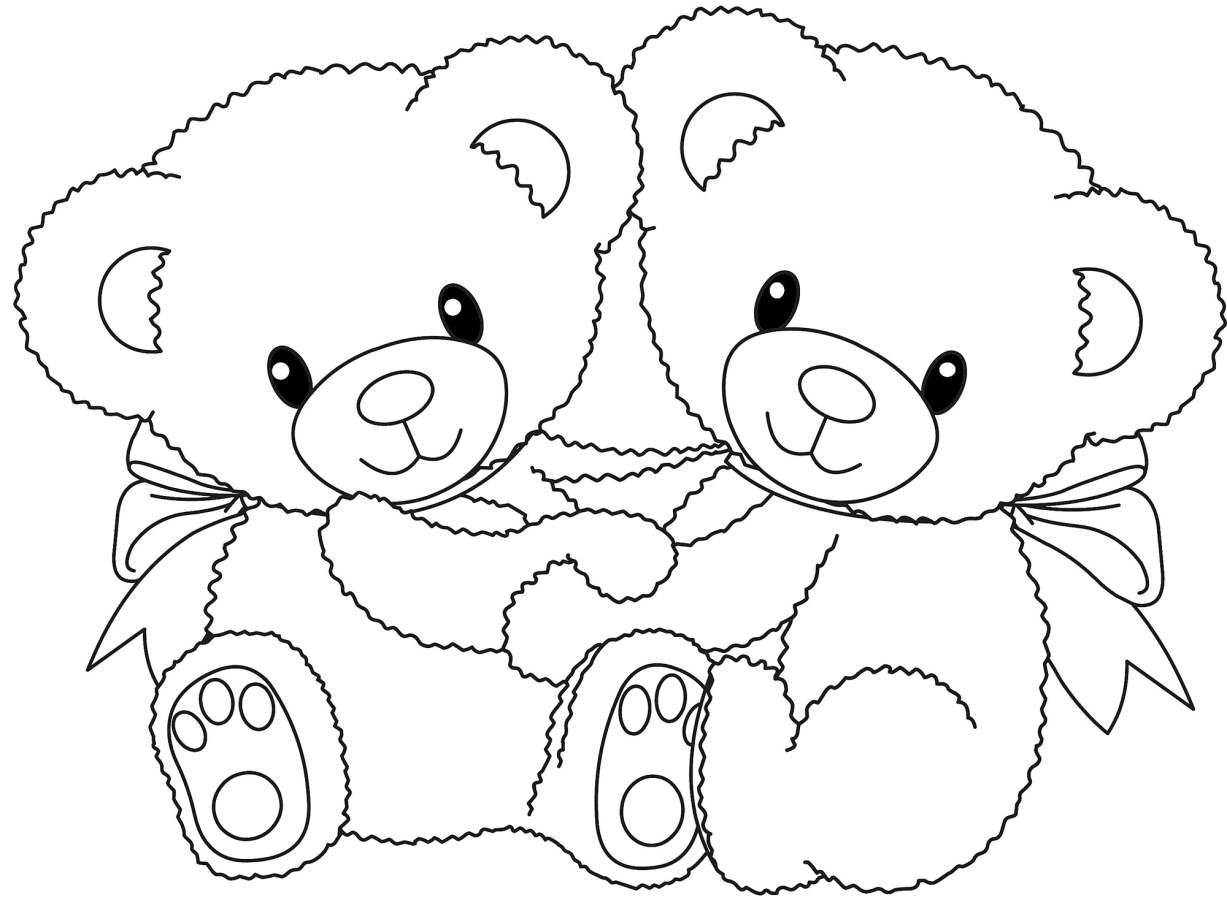Teddy Bear With Couple Coloring Pages Online Printable | Coloring ...