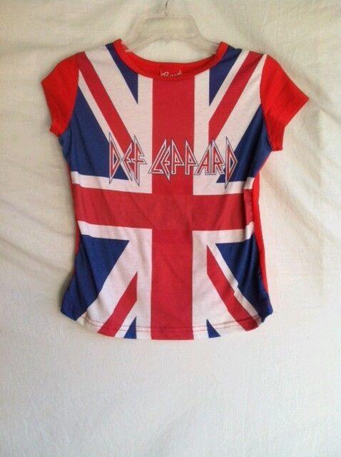 da6fbb2b123e9 RARE 80 s Union Jack DEF LEPPARD UK Flag Heavy Metal Womens T Tee Shirt  Large in Clothing