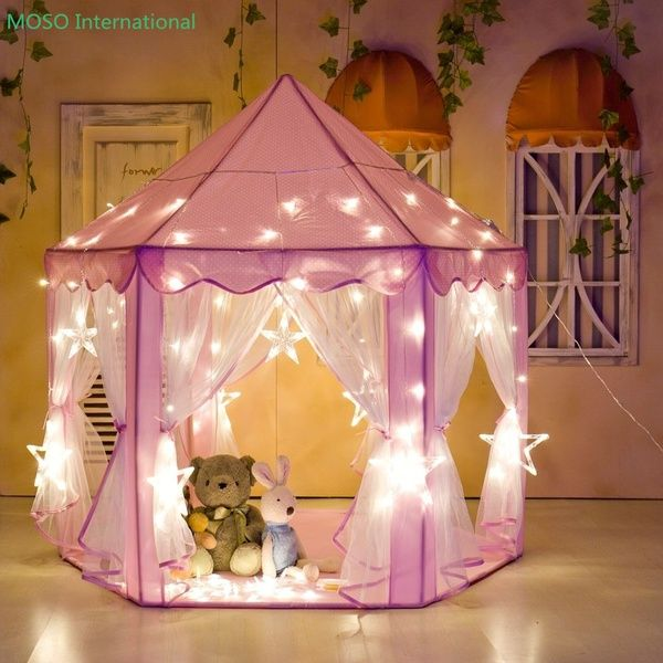 Large Baby Girl Princess Playing House  Indoor Kids Bed Tent With Fantastic Lighting & Large Baby Girl Princess Playing House  Indoor Kids Bed Tent With ...