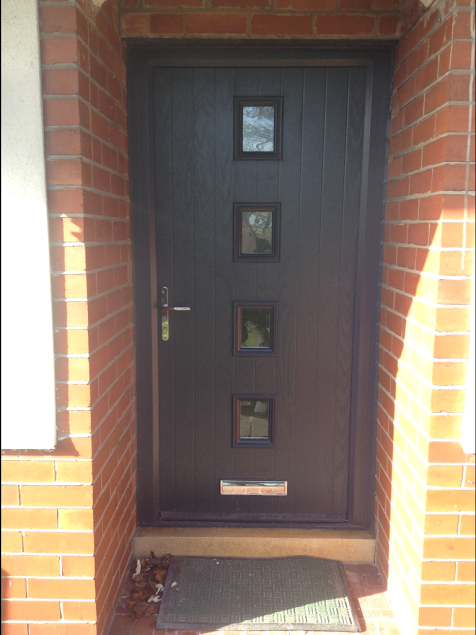 4 Square Glazed Composite Front Door in Grey   Family Sisters ...