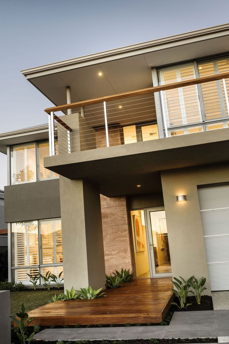 Casa moderna de dos pisos con hermoso dise o de fachada e - Disenos de pisos para interiores ...