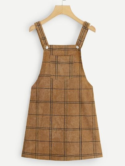 6717e0956d537 Bib Pocket Front Grid Corduroy Overall Dress #virginpearlscollection ...