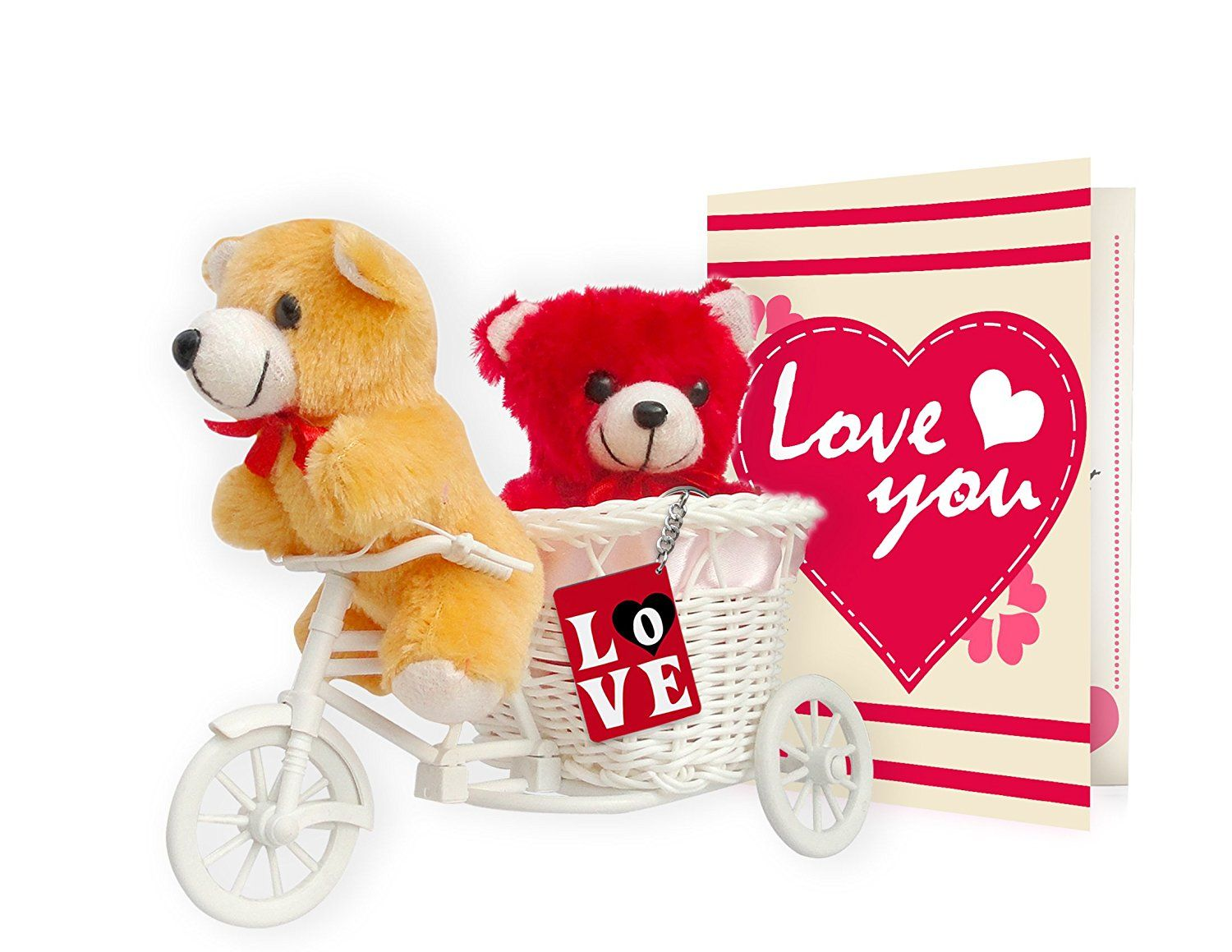 Buy TIED RIBBONS ValentineS Day Gift Combo 2 Teddy Love Tri Cycle Key