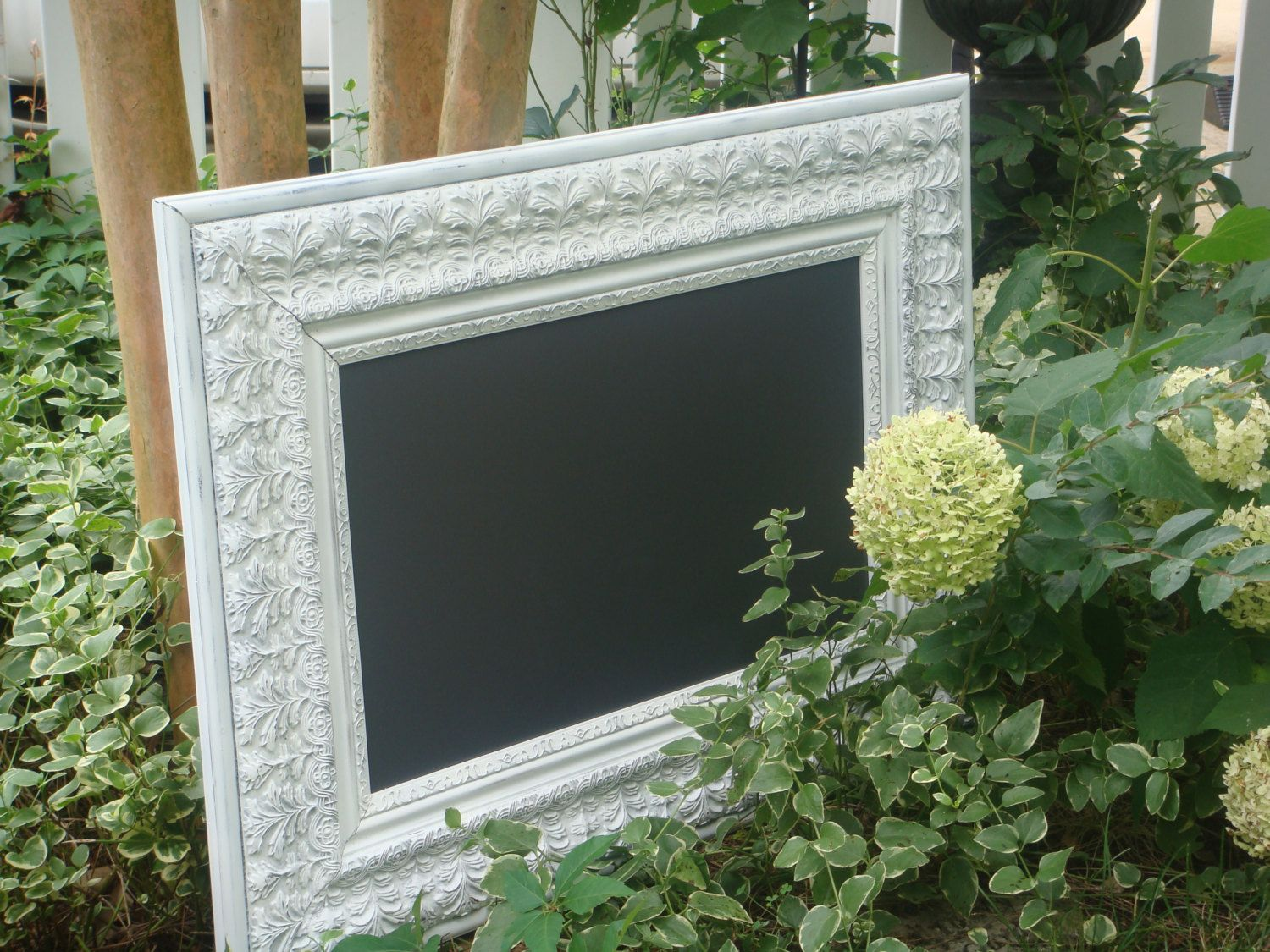Chalkboard, LARGE, MAGNETIC and MAGNIFICENT, Vintage, Ornate, White-Distressed Frame Wedding/Restaurant (27 x 36 3/4 inches). $120.00 USD, via Etsy.