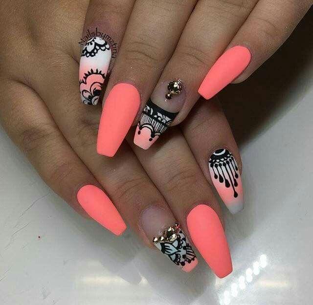 Neon Nails Design Nails Pinterest Orange Pink Pink Black And