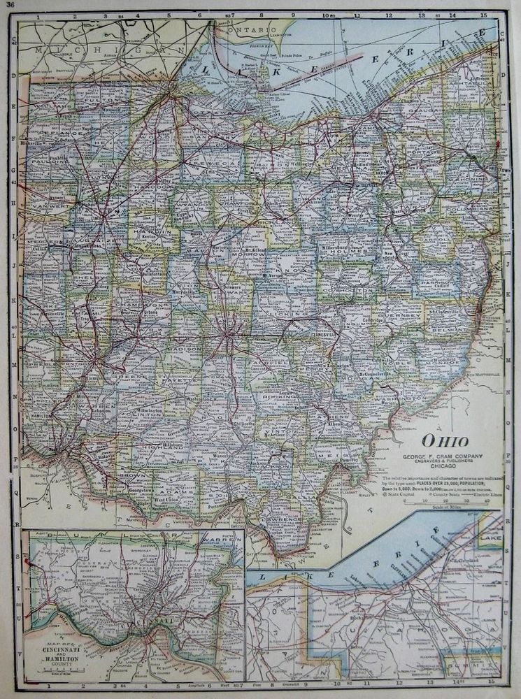 Antique OHIO MAP Vintage Map Of Ohio State Map Gallery Wall - Us map ohio state