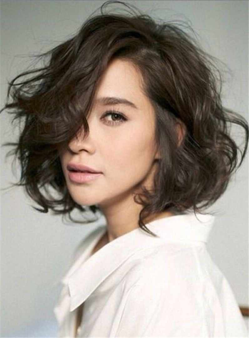 Shag Lobs Loose Wavy Short Hairstyle Side Swept Fringes Lace Front Human Hair Wig 10 Inches Messy Short Hair Thick Hair Styles Short Hair Styles