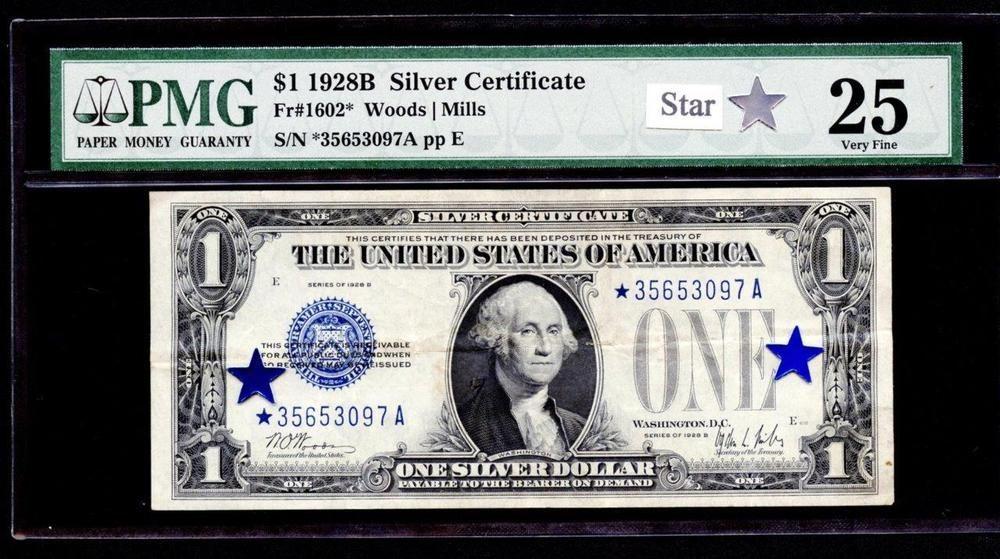 1928b 1 dollar silver certificate star note (*a block) pmg 25 please ...