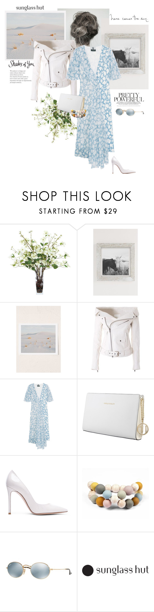 """""""Pretty Powerful"""" by rever-de-paris ❤ liked on Polyvore featuring Lux-Art Silks, Urban Outfitters, Faith Connexion, Topshop Unique, Trussardi, Gianvito Rossi, Hring eftir hring and Ray-Ban"""