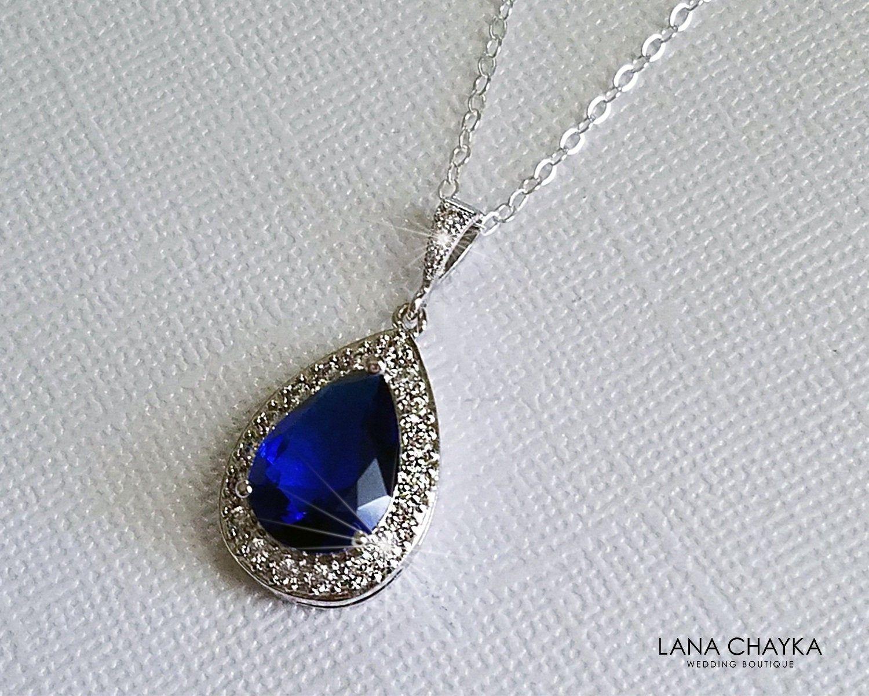 Sapphire Teardrop Bridal Necklace Navy Blue Silver Wedding Pendant Royal Blue Necklace Sapphire Halo Nec In 2020 Blue Silver Weddings Bridal Jewelry Wedding Pendant