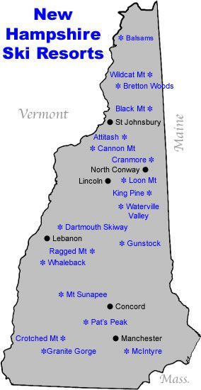 New Hampshire Ski Map Ski Resorts Us In 2019 New Hampshire Ski - Eastern-us-ski-resorts-map