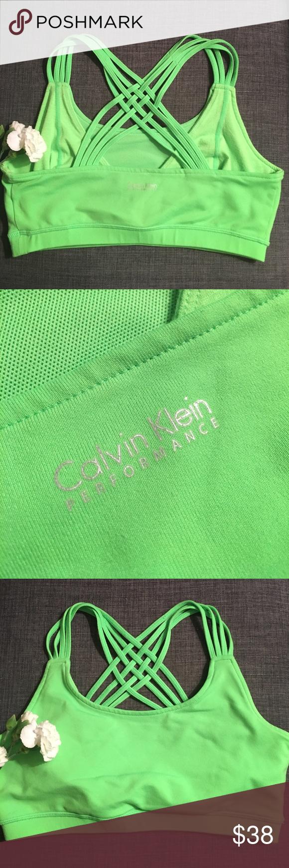 Calvin Klein bra Calvin Klein Performance bra. Bright and fun green. Layered straps. Size medium. Excellent condition. Calvin Klein Intimates & Sleepwear Bras