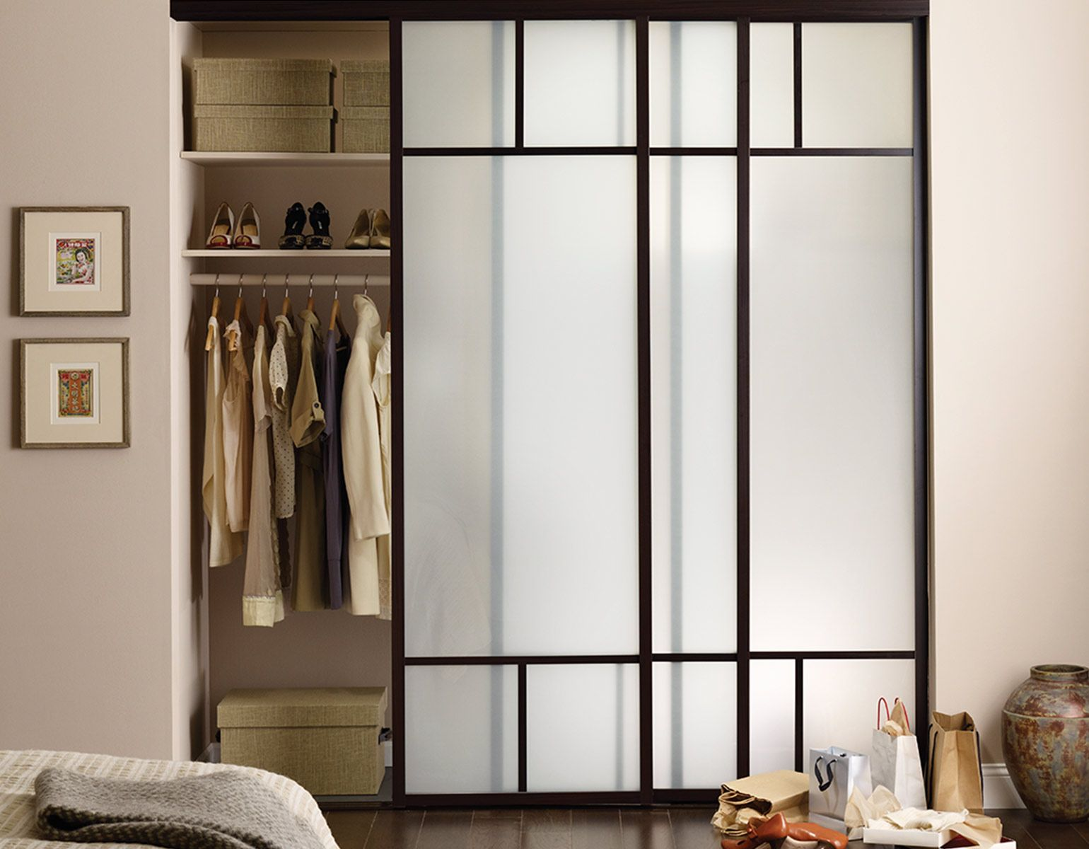 Sliding Gl Closet Doors With Frosted Duo T Frame Design And Charcoal