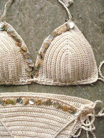 Shell Bikini Crochet Bikini Triangolo Uncinetto Costumi Da Capelli