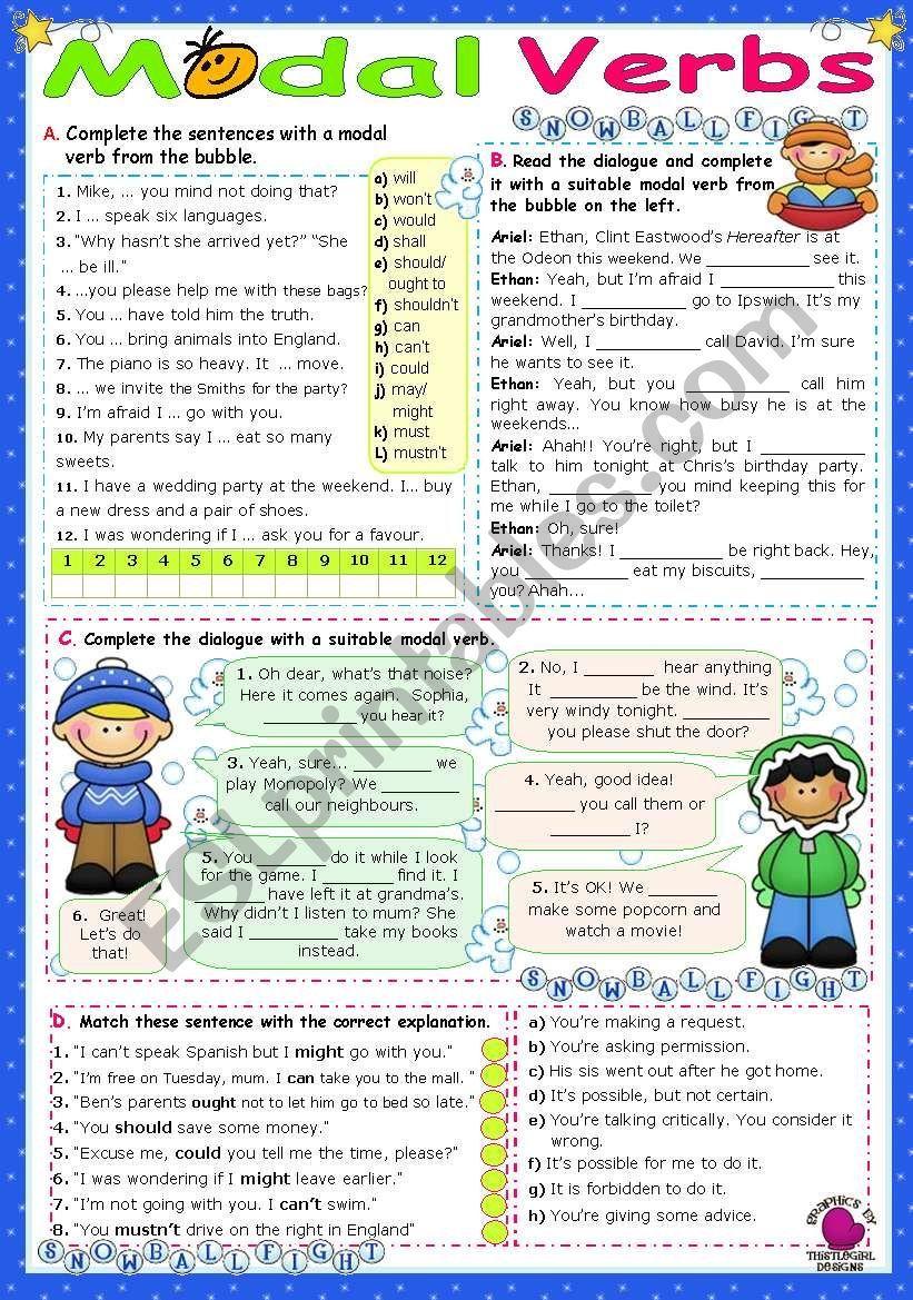 Modal Verbs 1 Esl Worksheet By Mena22 Verb Grammar Worksheets Worksheets [ 1169 x 821 Pixel ]