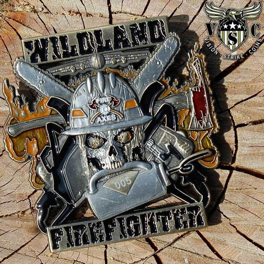Drip torch wildland magnum firefighter coin with original