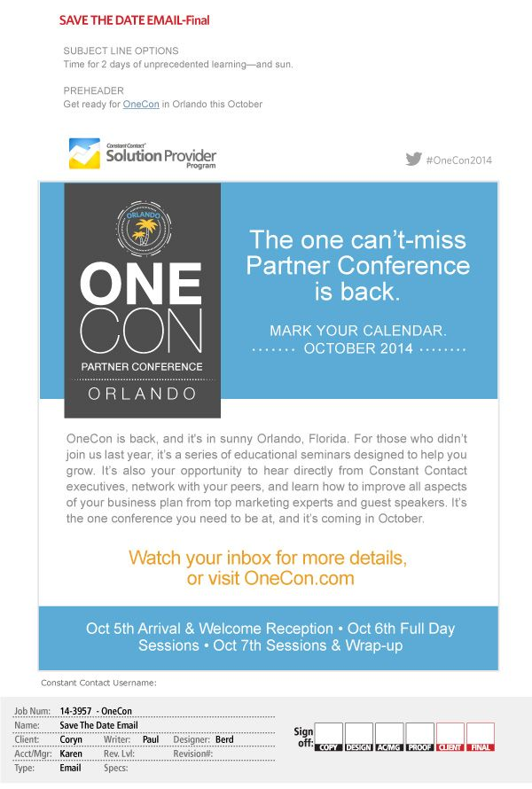 Email promotion to conference Campaign for the Constant Contact - conference agenda