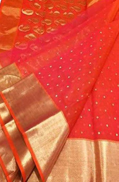 e1c177c69f18c2 Red Handloom Chanderi Pure Katan Silk Saree | chanderi sarees in ...
