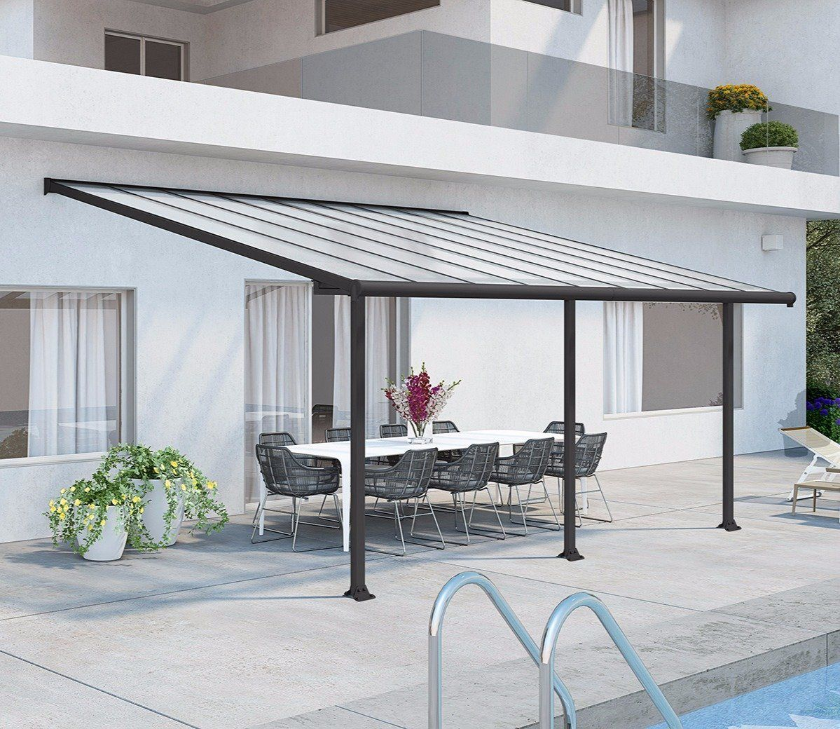 Palram Olympia Grey 20 x 9 ft Patio Cover in 2019 | outdoor