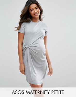 57ddde4584277 Maternity PETITE T-Shirt Dress With Gathered Front | Preggy Style ...
