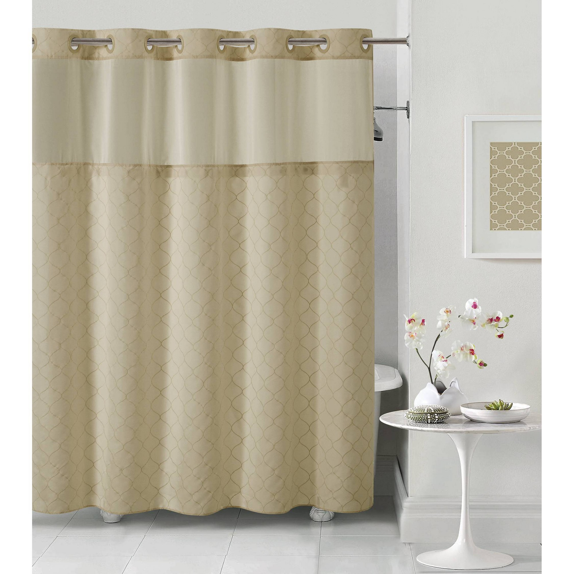 Mosaic Embroidery Shower Curtain With Peva Liner Taupe Hookless