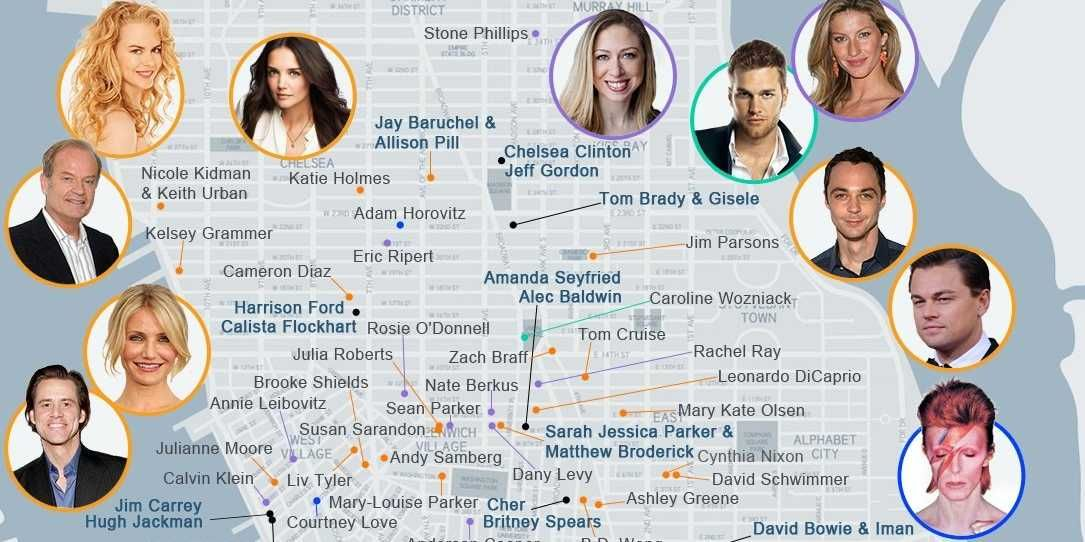 Star Map See Where Your Favorite Celebrities Live In New York City Nyc Map Living In New York Favorite Celebrities