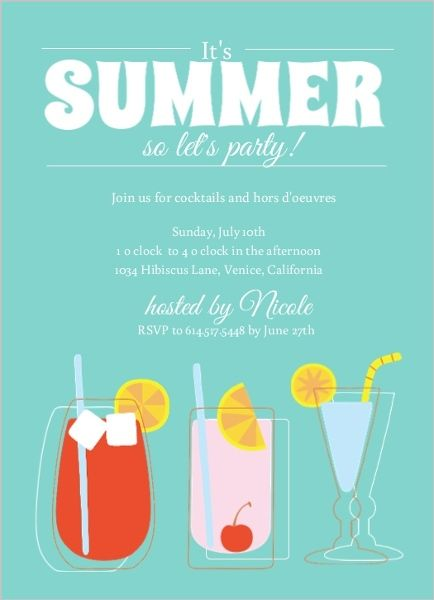 Blue Summer Cocktail Party Invite – Summer Party Invite