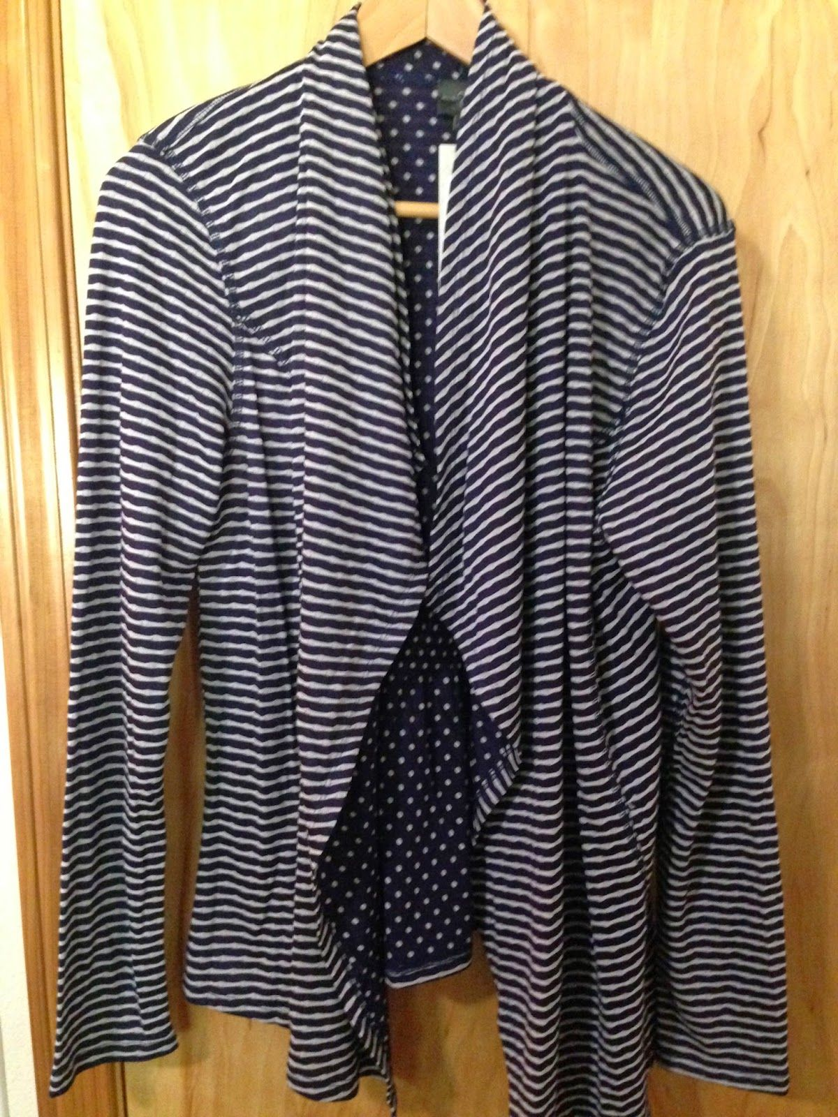 Market and Spruce Margerie Stripe & Dot Open Cardigan from Stitch Fix. Love this!