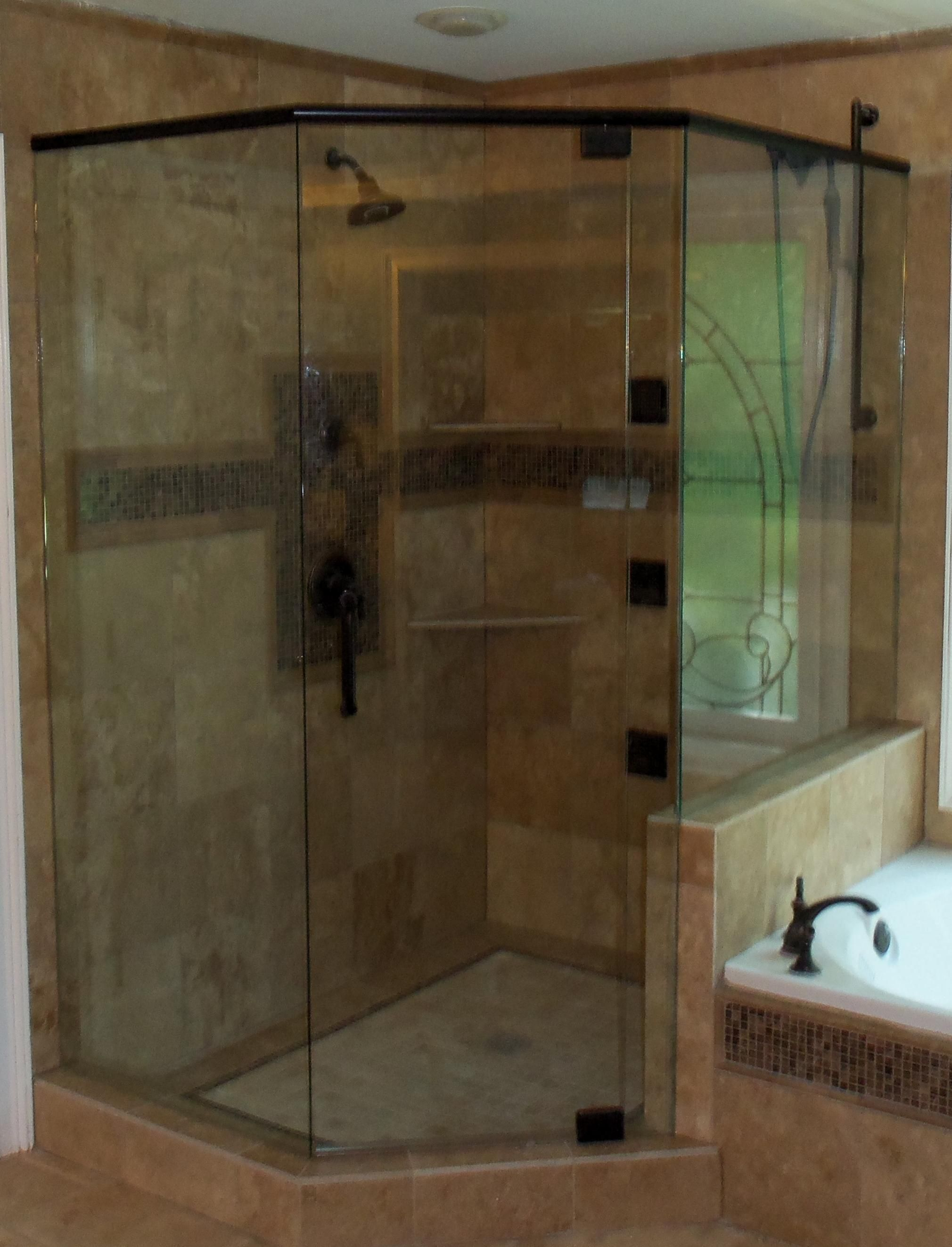 Cozy Bathroom With Delightful Neo Angle Shower: Bathtub With Bath ...
