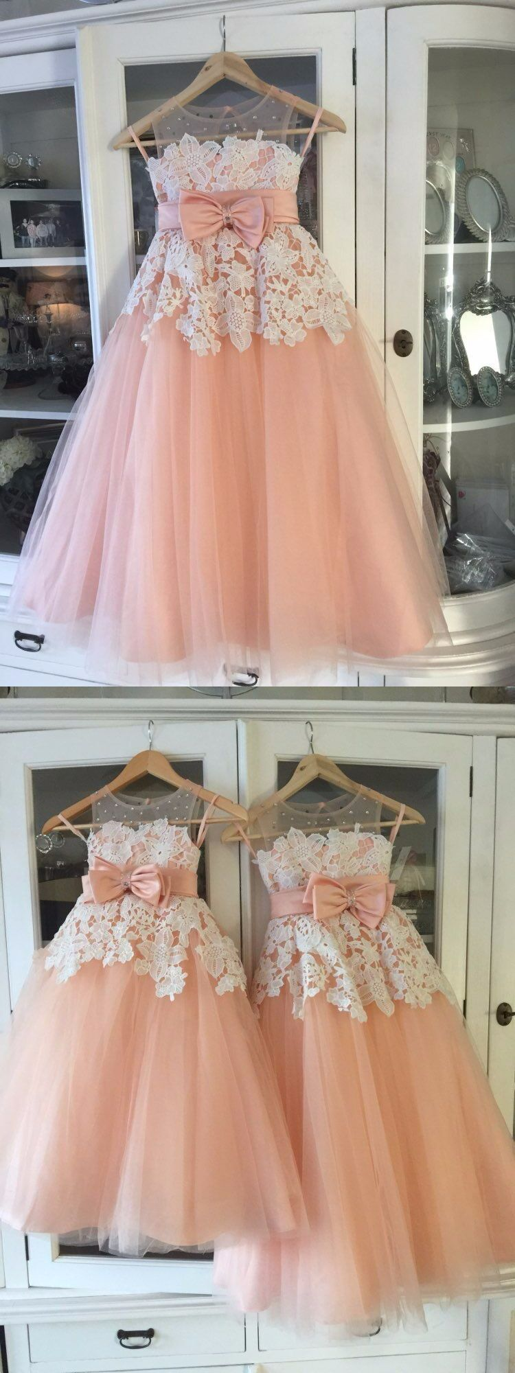 Aline round neck blush tulle flower girl dress with appliques