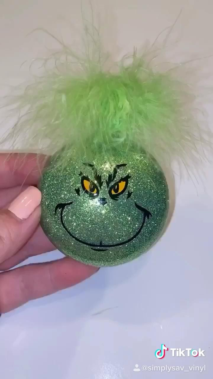 How to Make Grinch Ornaments, Glitter Christmas Or