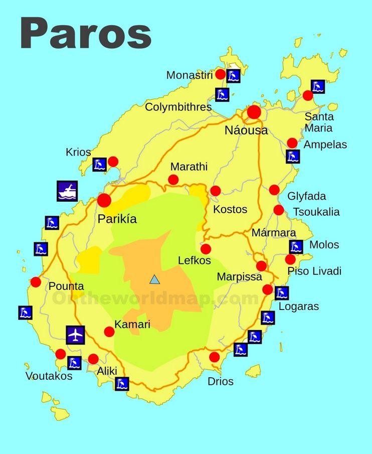 Paros beaches map | greece trip | Pinterest | Paros beaches, Paros ...