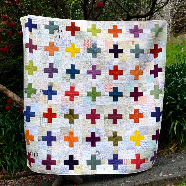 Oakshot and Low Volume Crosses Quilt by Adrianne at The Windy Side