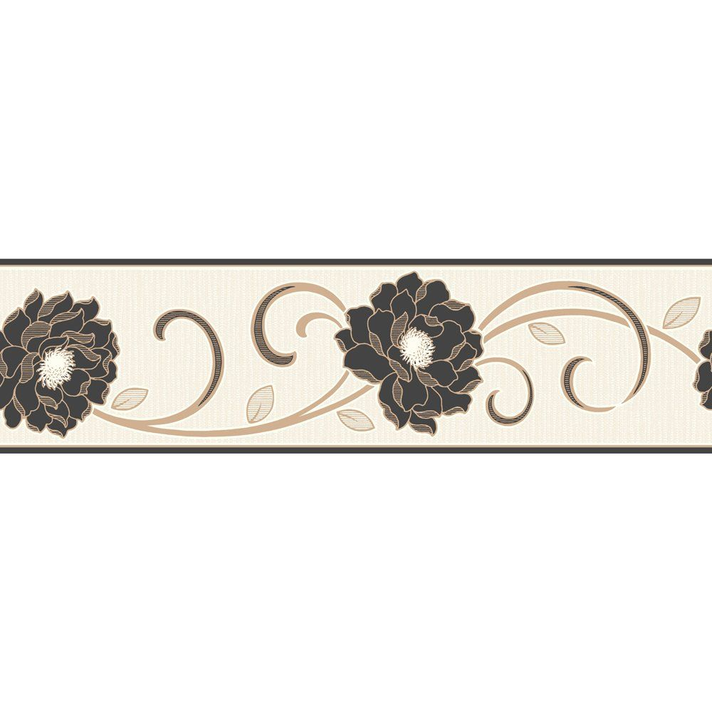 Decorative Wall Paper Trim : Fine decor florentina wallpaper border cream black