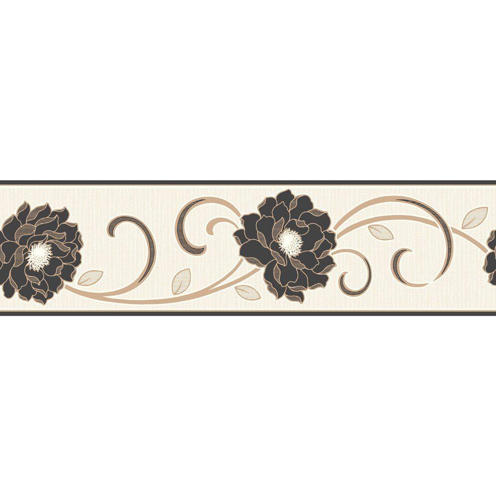 Best Florentina Wallpaper Border Cream Black Gold 400 x 300