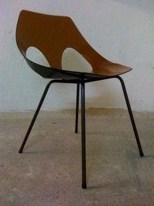 Fauteuil Chaise Fer Bois Design Vintage Moderniste Annee Guariche Tonneau 50 60